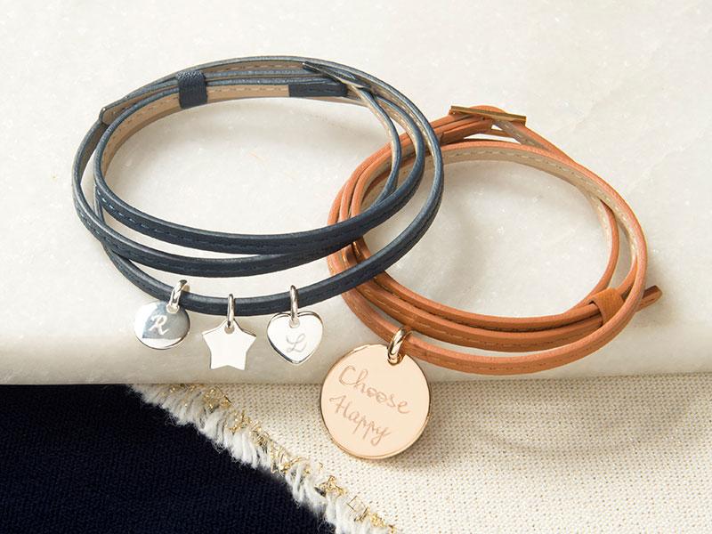 Bracelet personnalisé Cuir triple tour & charm