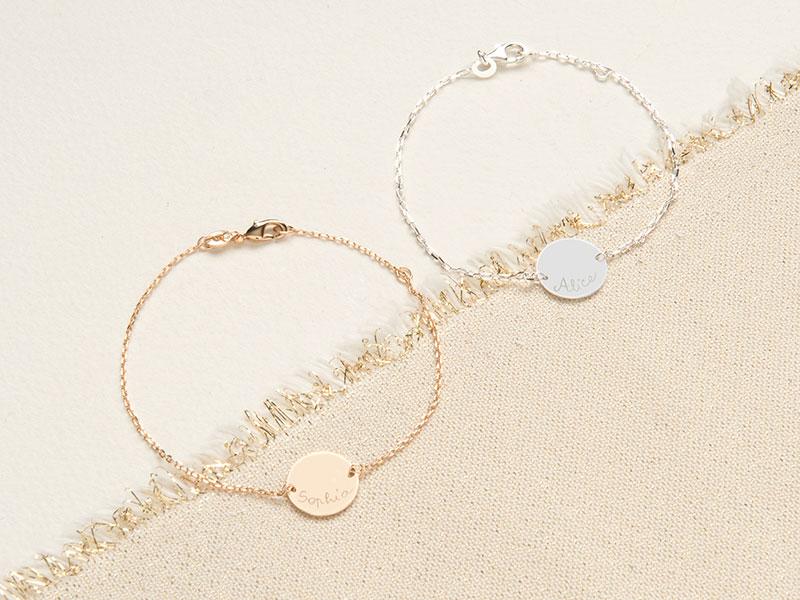 Bracelet personnalisé Pastille sur chaîne