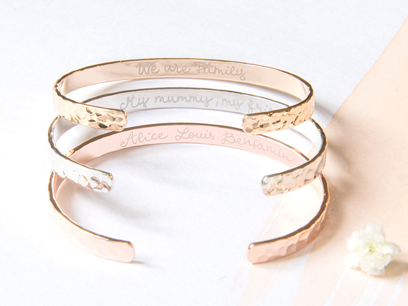 merci-maman-her-mum-gold-plated-rose-gold-plated-sterling-silver-personalised-hammered-open-bangle-lifestyle-mother's-day-2018