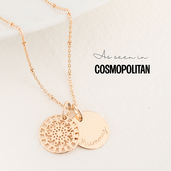 Spotted! Our new Mandala Necklace featured in Cosmopolitan's Mother's Day Gift Guide.