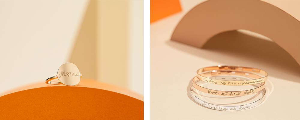 Personalised Signet Ring & Personalised Flat Bangle
