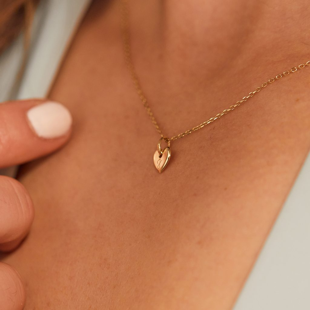 Product Image of Fine Solid Gold Mini Heart Necklace