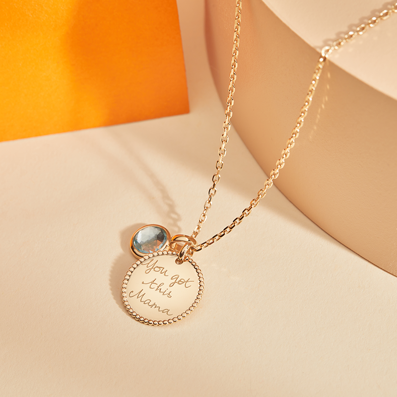 product image of Personalised Beaded Disc & Birthstone Necklace