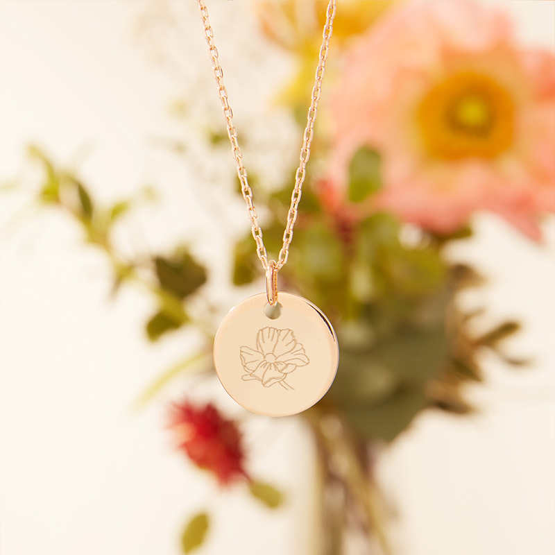 Product image of a Medium Birth Flower Necklace with Cosmos engraving